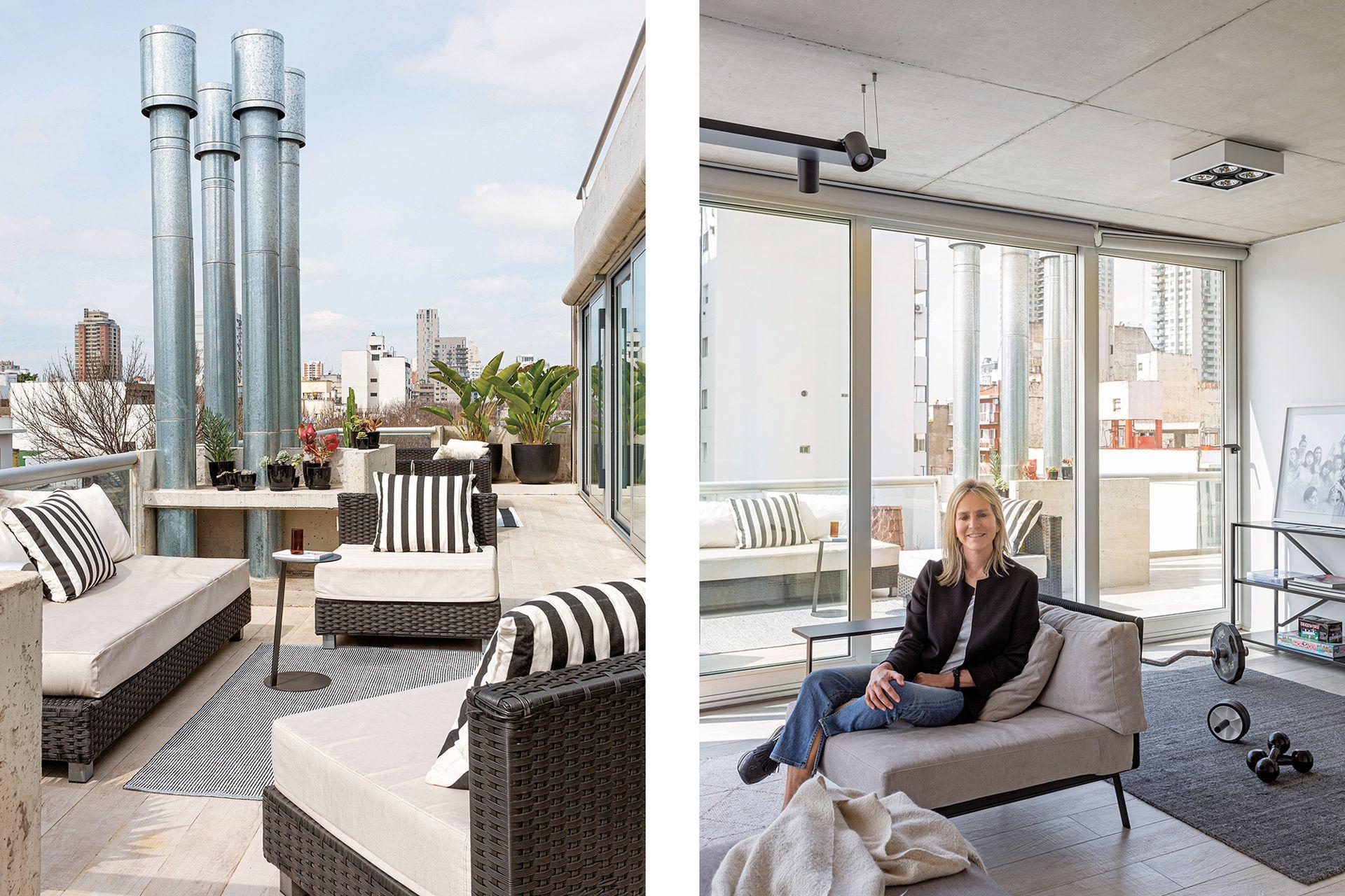 La arquitecta Cynthia De Winne, sentada en un sillón con estructura de hierro (Federico Churba). La terraza tiene sectores definidos según su uso. En su living, muebles de exterior (Mausy Design).