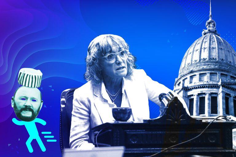 Mónica Frade presentó una denuncia policial por el robo de la careta de Infrán y el gorro de presidiario que la acompañan en las sesiones