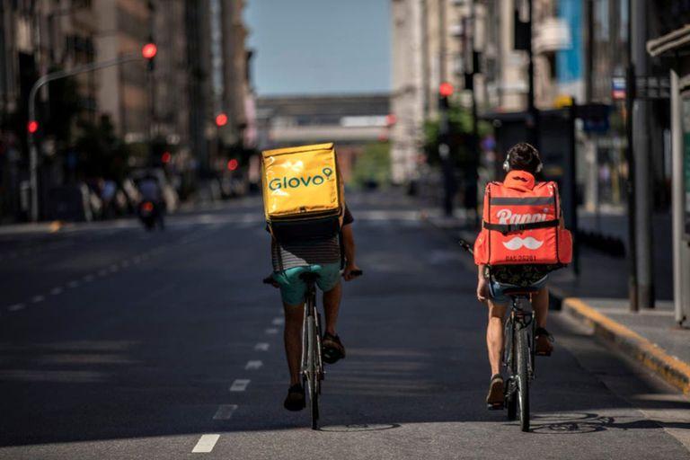 Bicicletas en el centro de la ciudad, de lo poco que se ve en movimiento en estos días