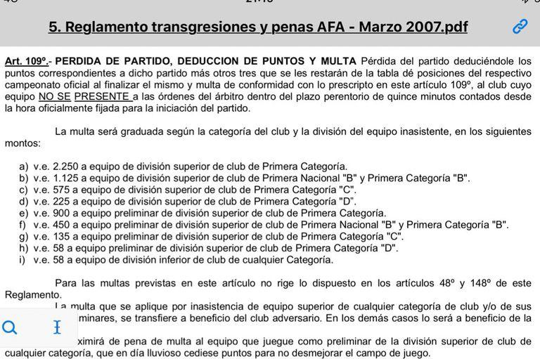 El artículo 109 del reglamento de transgresiones y penas de AFA, de confusa redacción.