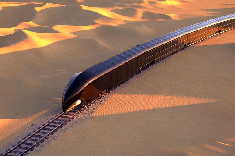 Una ilustración de cómo se vería el G Train; el vidrio de los vagones puede oscurecerse para dar intimidad a los pasajeros