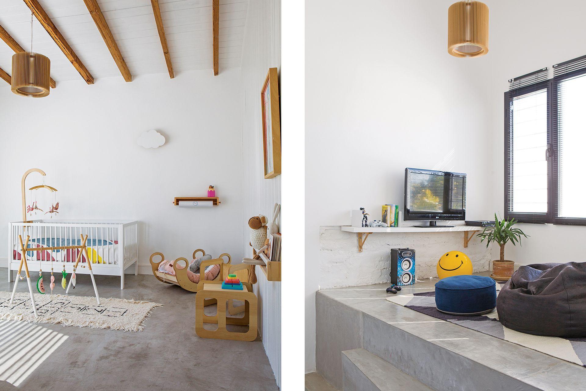 Lámpara, cuna, silla y mesa de madera (Ramón Argüello). Acolchado (Cuka Estudio). Móvil y gimnasio (Pizpireta Market). Alfombra 'Rayuela' (NEC). Der.: Alfombra (Elementos Argentinos). Puf gota (Arredo).