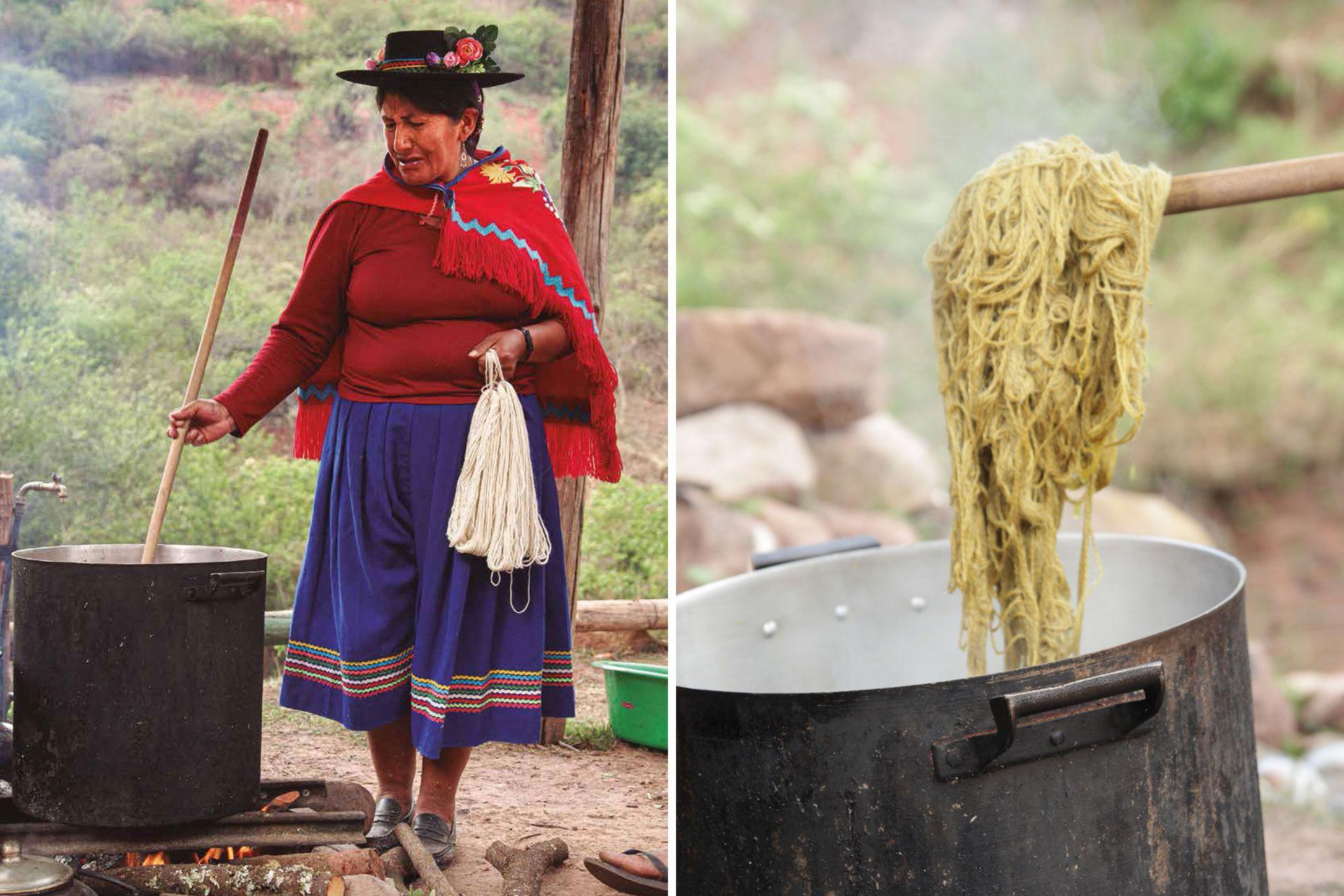 Izquierda: Elda Luere, mujer artesana de Valle Colorado, en pleno proceso de teñido. Derecha: hilado teñido con ubilla de zorro (Berberis fiebrigii).