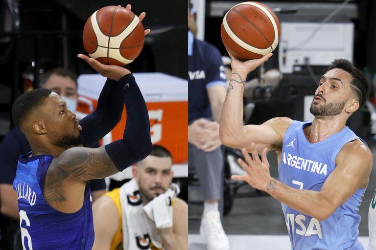 Damian Lillard (Portland y Estados Unidos) y Facundo Campazzo (Denver y Argentina), del duelo en la primera rueda de los playoffs de la NBA al amistoso antes de Tokio 2020