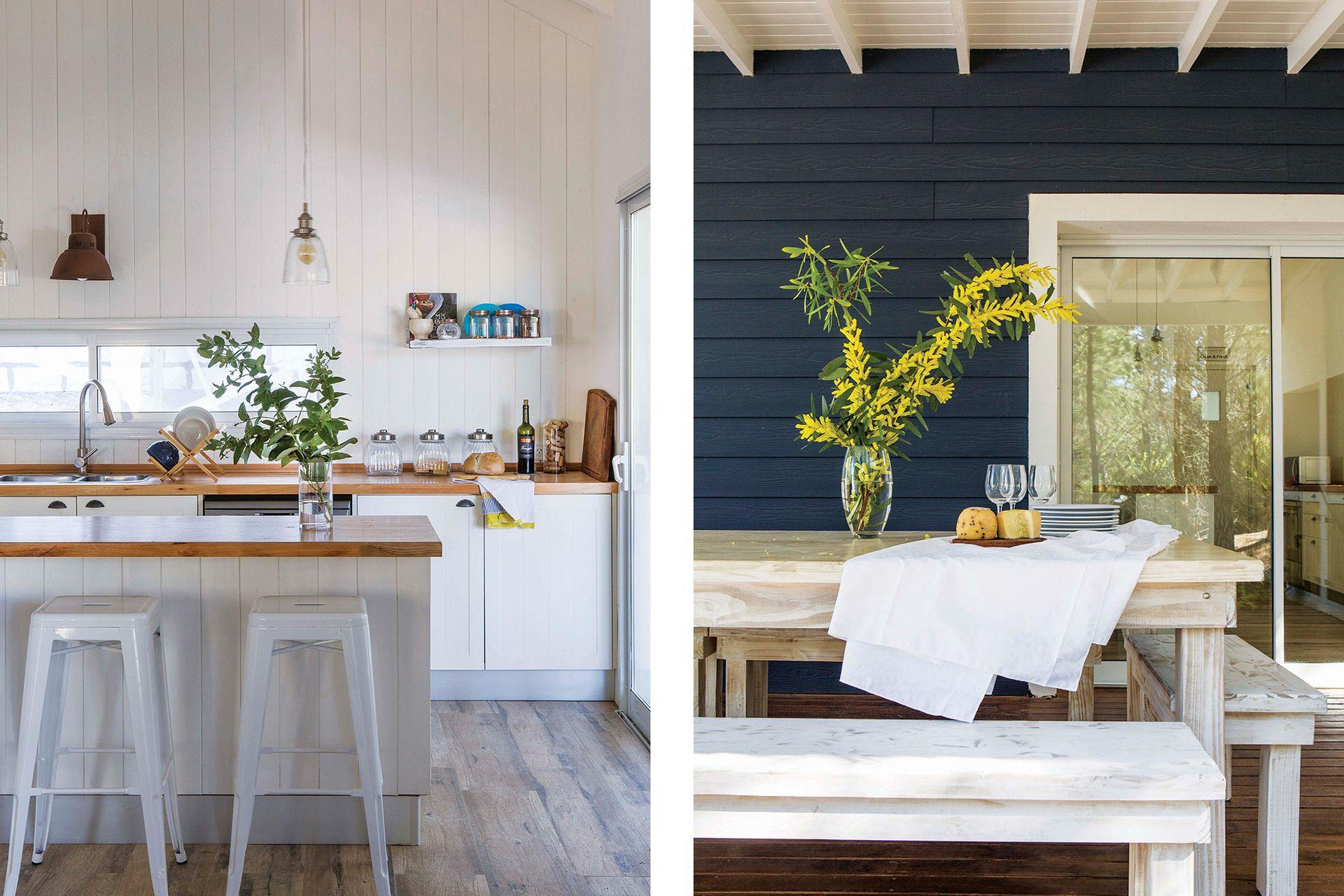 Nada de complicaciones en esta cocina que se vincula con el sector de la parrilla a través de un ventanal corredizo.