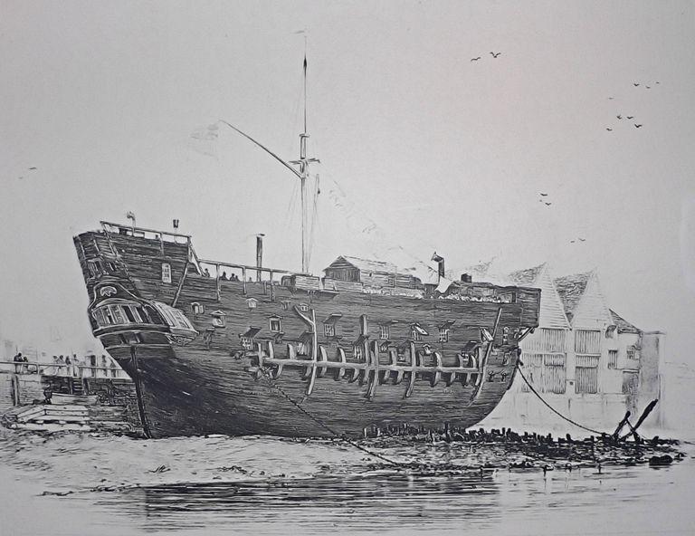 Cárceles flotantes, o barco prisión, una práctica común en la Inglaterra de hace dos siglos (Wikimedia Commons)
