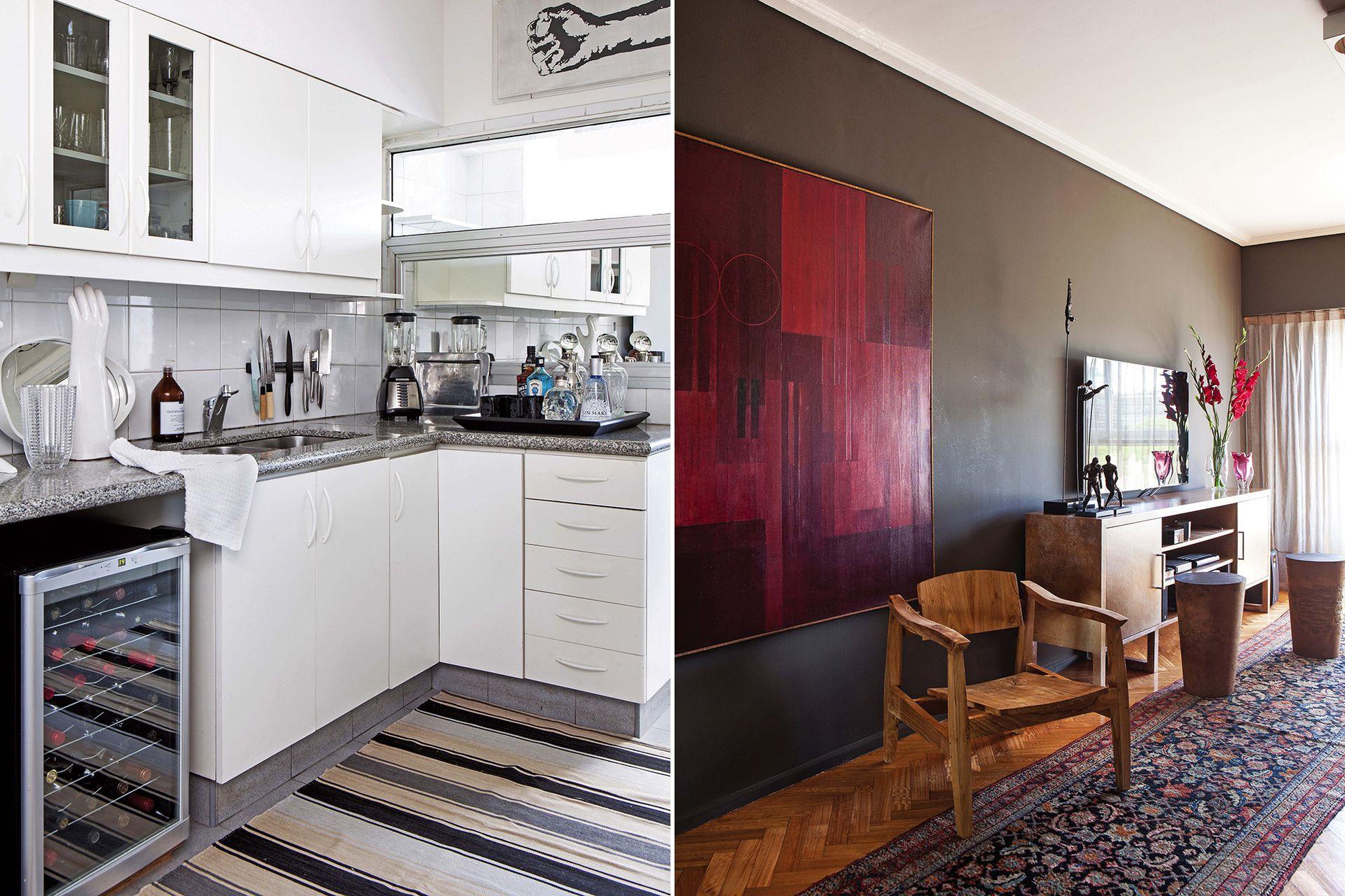 En la cocina, Rodrigo reemplazó el vidrio de la ventana interna por un espejo que amplía y evita la vista menos atractiva hacia el lavadero. Javier Picerno