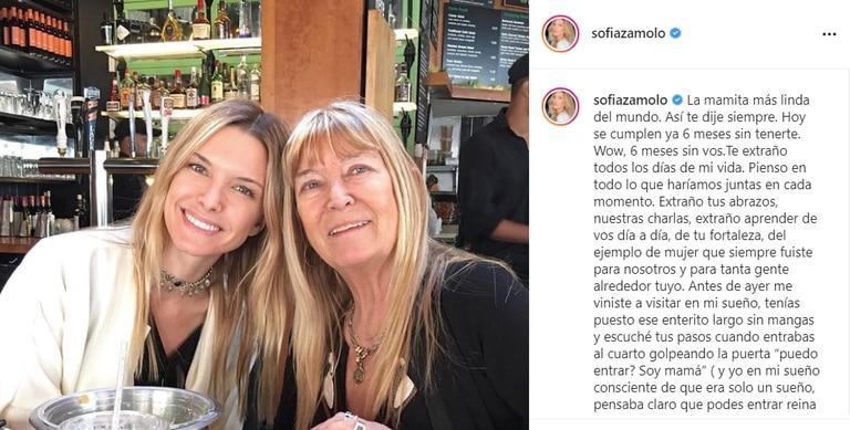 En las últimas horas, Zámolo homenajeó a su mamá desde su cuenta de Instagram