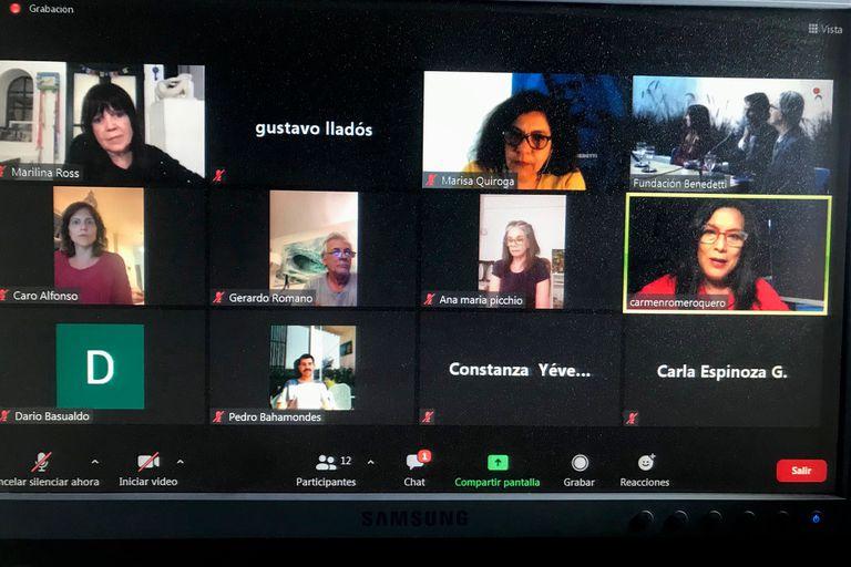 Zoom en el que participaron Ana María Picchio, Marilina Ross, Marisa Quiroga y Gerardo Romano, entre otras personalidades