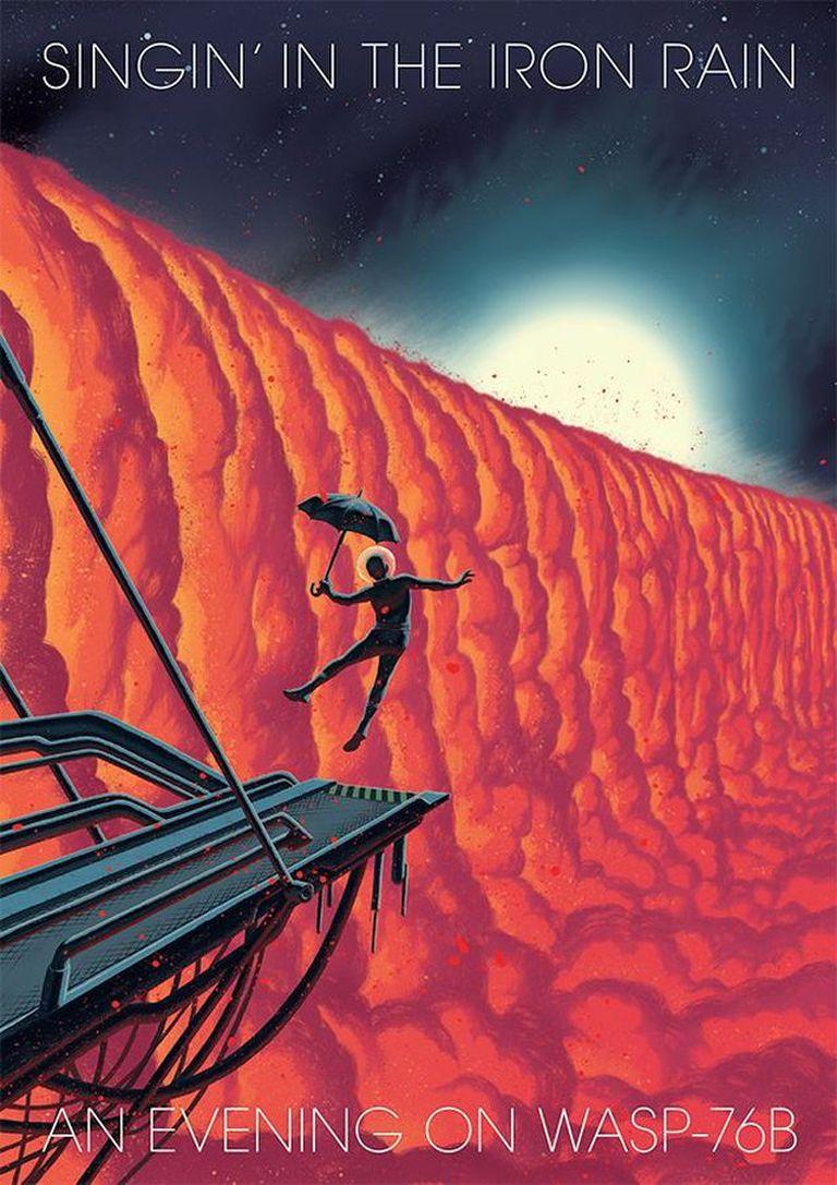 Una ilustración que imagina un poster turístico para visitar Wasp-76b, un dibujo hecho por el novelista gráfico Frederik Peeters