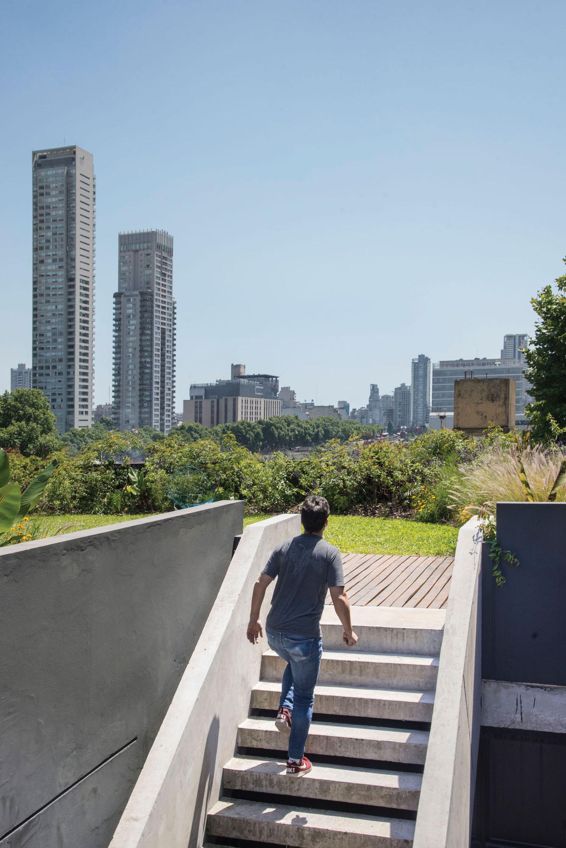 La escalera de acceso a la terraza con cubierta verde conecta con la planta baja.