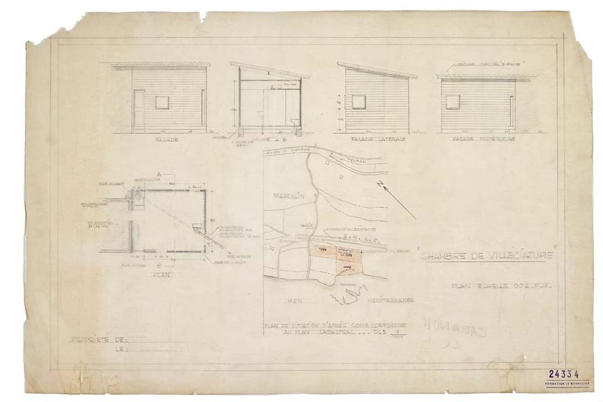 Bocetos de Le Cabanon, el refugio de Le Corbusier con sus refinados 16m2. Cuarenta y cinco minutos le llevó a uno de los arquitectos más influyentes del siglo XX plasmar en papel las coordenadas definitivas de su utopía personal.