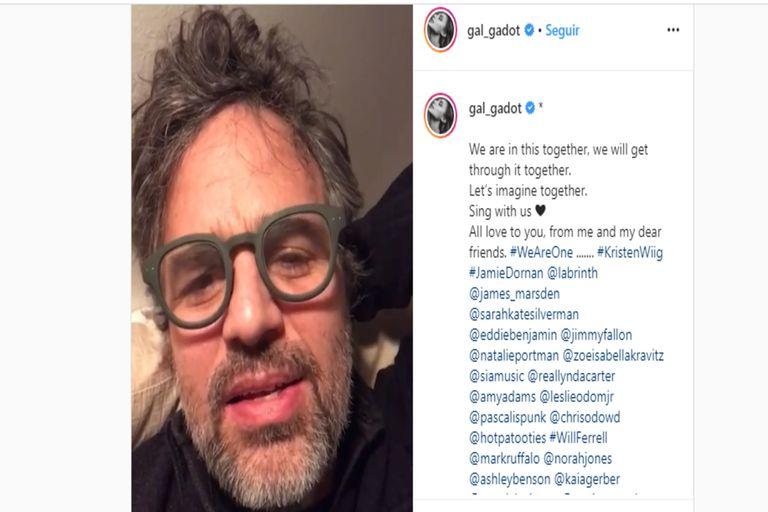 Mark Ruffalo fue uno de los 21 actores y actrices convocados por Gal Gadot.