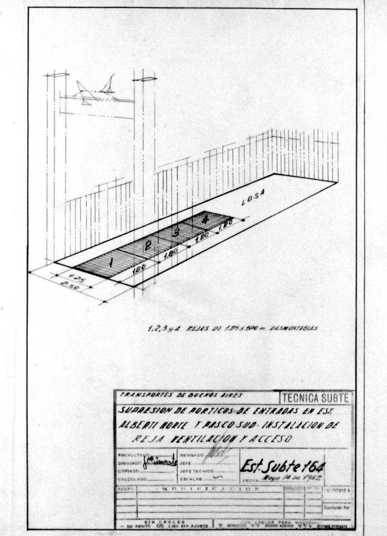 Proyecto del año 1952 para cerrar definitivamente las bocas de subte de Pasco Sur y Alberti Norte