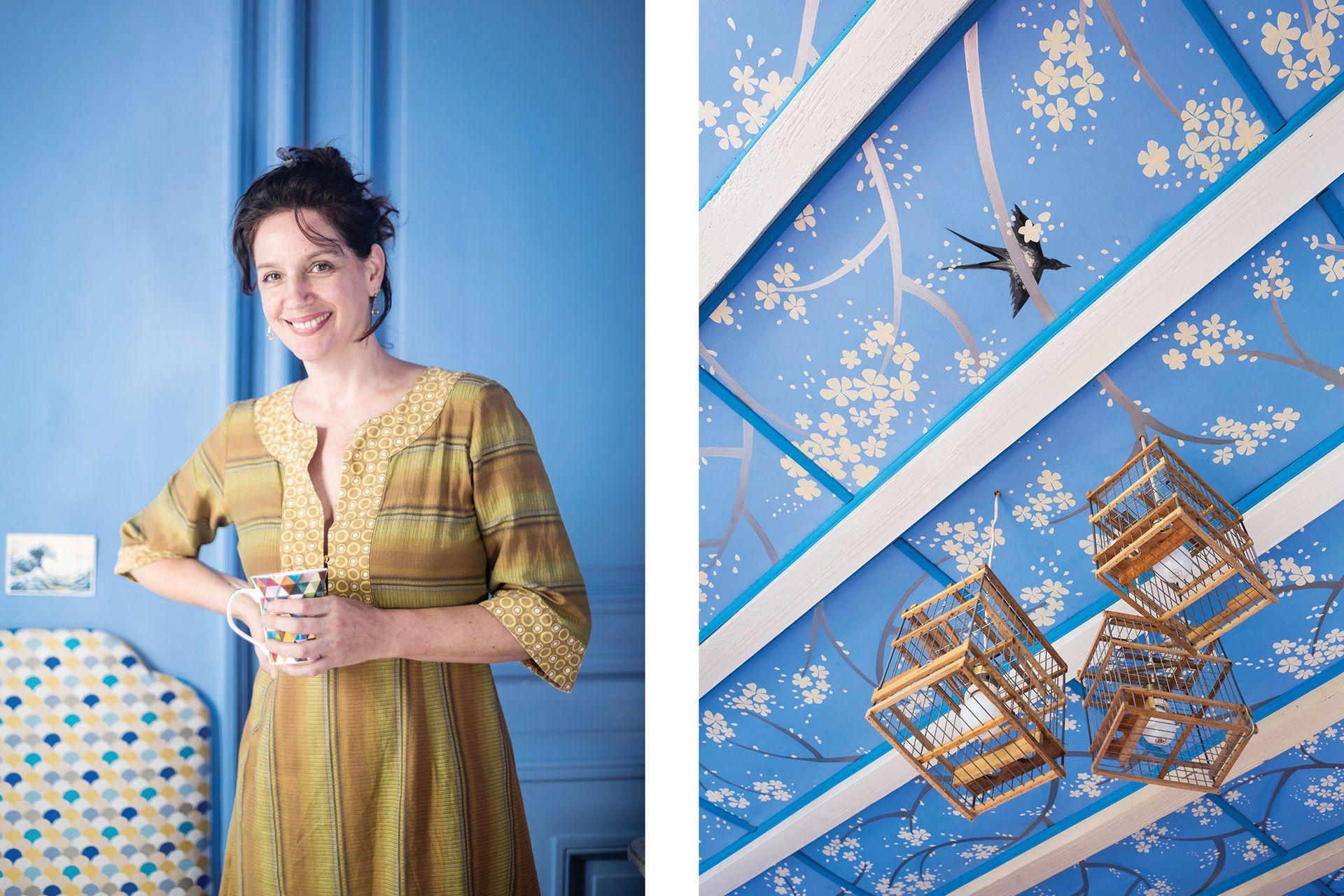 """El detalle del cuarto de una de sus hijas, """"Me parece fabuloso pintar el techo, una costumbre de siglos que ahora muy pocos practican""""."""