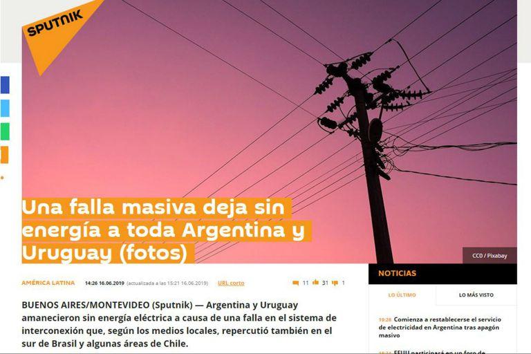 La agencia rusa Sputnik señala la falla masiva que deja sin energía a toda Argentina y Uruguay