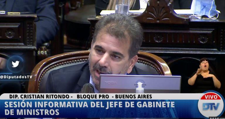 El diputado nacional Cristian Ritondo, en la sesión informativa del jefe de Gabinete de Ministros