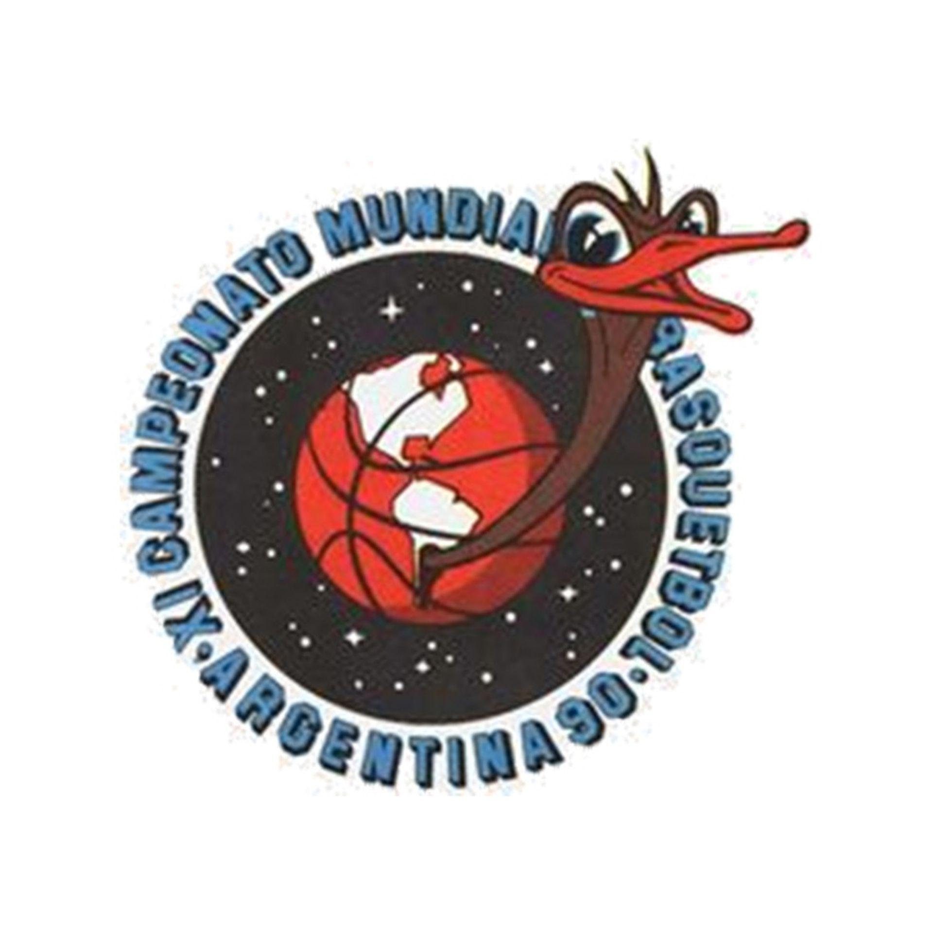 El logo del campeonato Mundial de básquetbol de de Argentina 1990