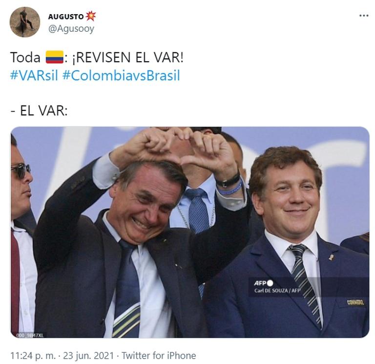Las referencias a Jair Bolsonaro y Alejandro Domínguez tampoco faltaron. Fuente: Twitter.