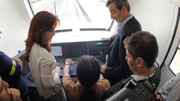 Cristina, con Randazzo y Kicillof, en uno de los trenes