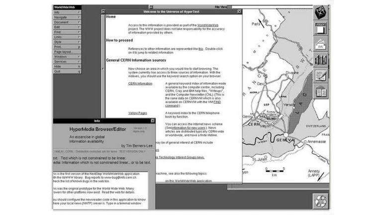 El primer navegador permitía acceder a la página inicial de la Web, en el CERN