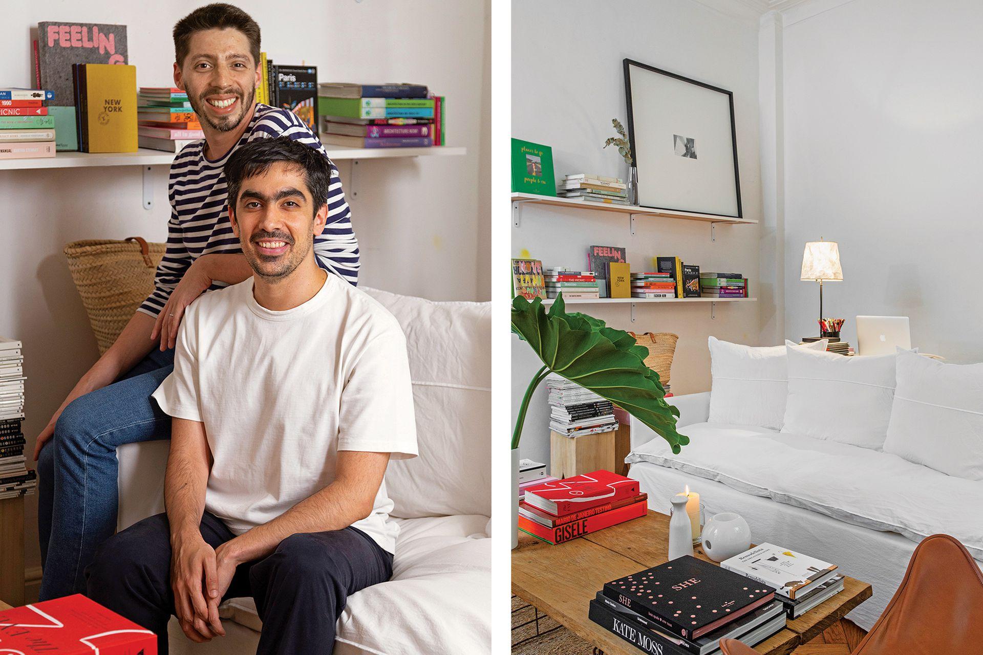 Federico Ciccone y Max Bensimon (der.) en su sillón con fundas de algodón (Hands Off).