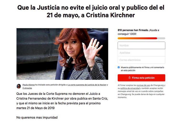 """Petición: juntan firmas para que la Justicia """"no evite el juicio a Cristina"""""""
