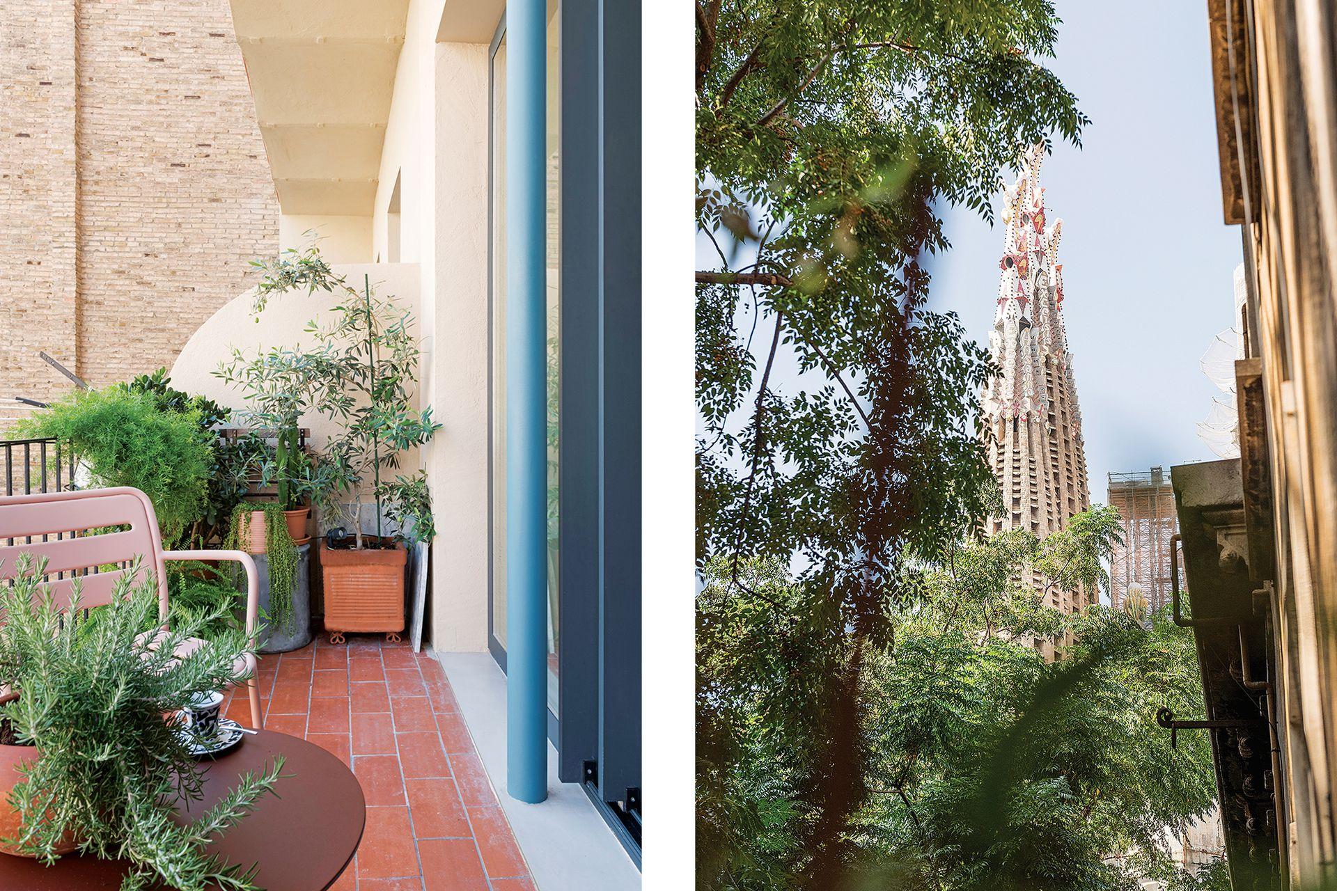 Los dos dormitorios dan al balcón corrido con privilegiada vista a La Sagrada Familia.