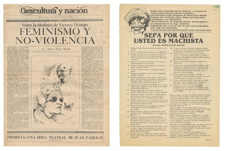 Publicaciones de María Elena Walsh en Clarín y Humor