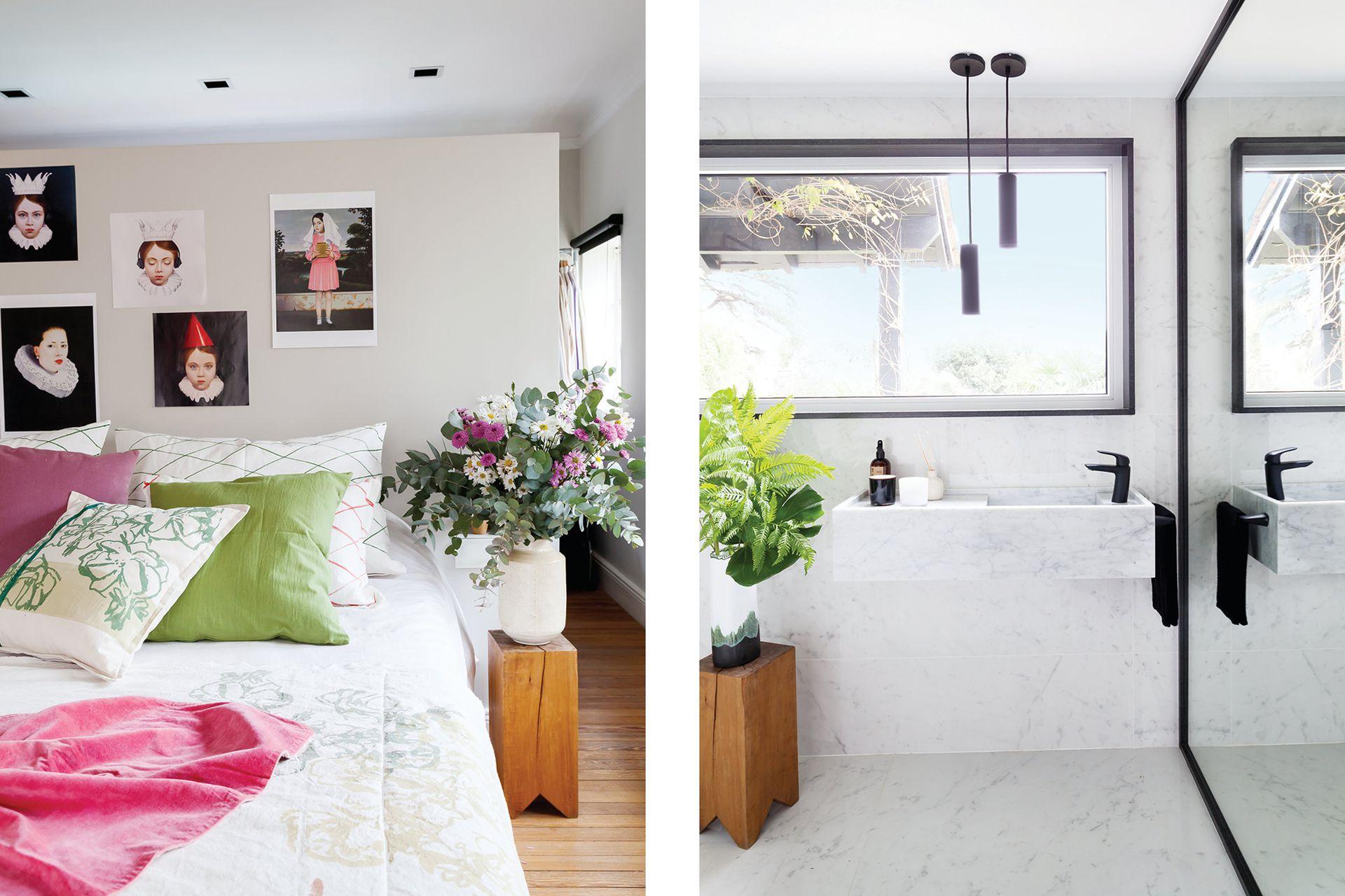 El baño tiene piso y paredes en porcelanato (Barugel Azulay), grifería 'Epuyén Black' (FV), bacha conformada en Carrara y espejo de piso a techo con marco en granito negro (ambos de MMO Arquitectas).