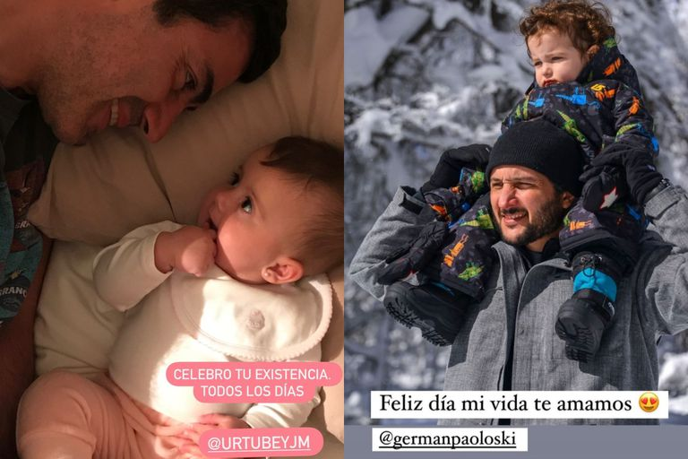 Isabel Macedo y Sabrina Garciarena saludaron a los padres de sus hijos: Juan Manuel Urtubey y Germán Paolosky, respectivamente