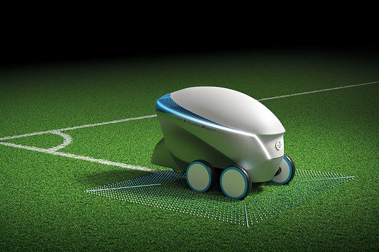 Nissan experimentó con un robot que realiza las marcas del campo de juego