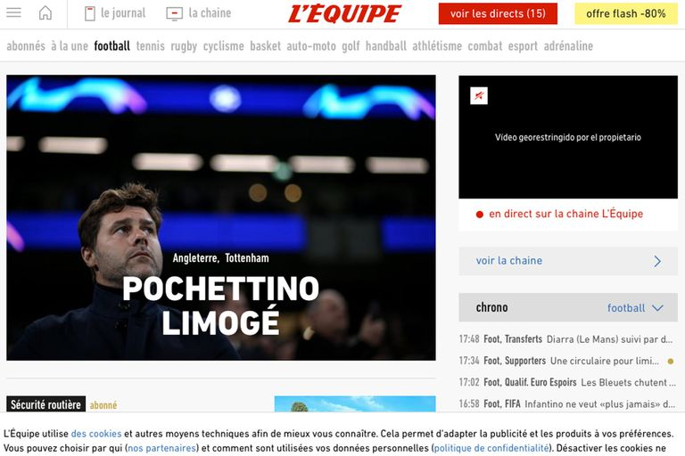 """Pochettino despedido"", tituló The, el diario deportivo francés"