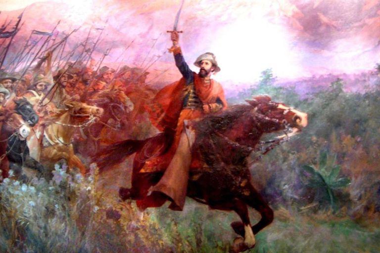 El Gral. Martín Miguel de Güemes y sus Gauchos, óleo sobre tela de A. Struch, Salta, 1912