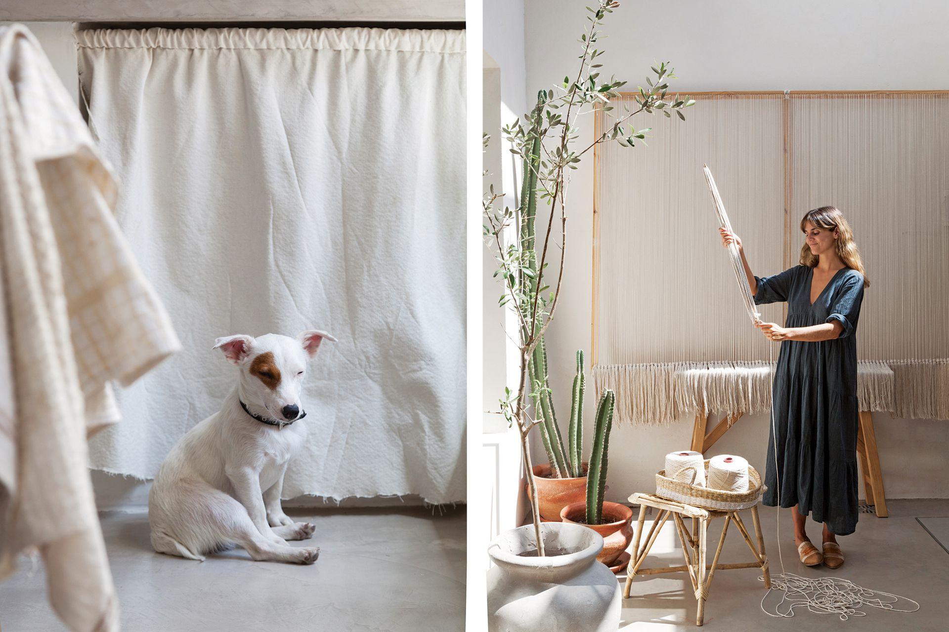 Retazos de lino blanco son ahora cortinas para el bajo mesada. Delante está Gaucho, disfrutando del sol de la tarde. A la derecha, Carolita junto al telar