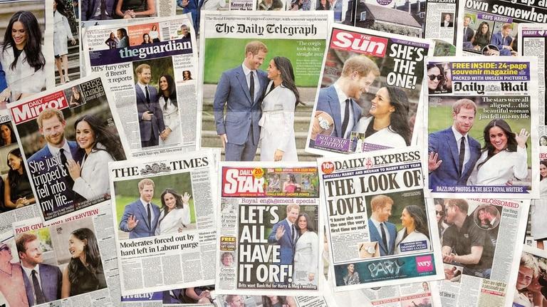 Los principales tabloides británicos, con Harry y Meghan en sus portadas, se hicieron eco de la noticia.