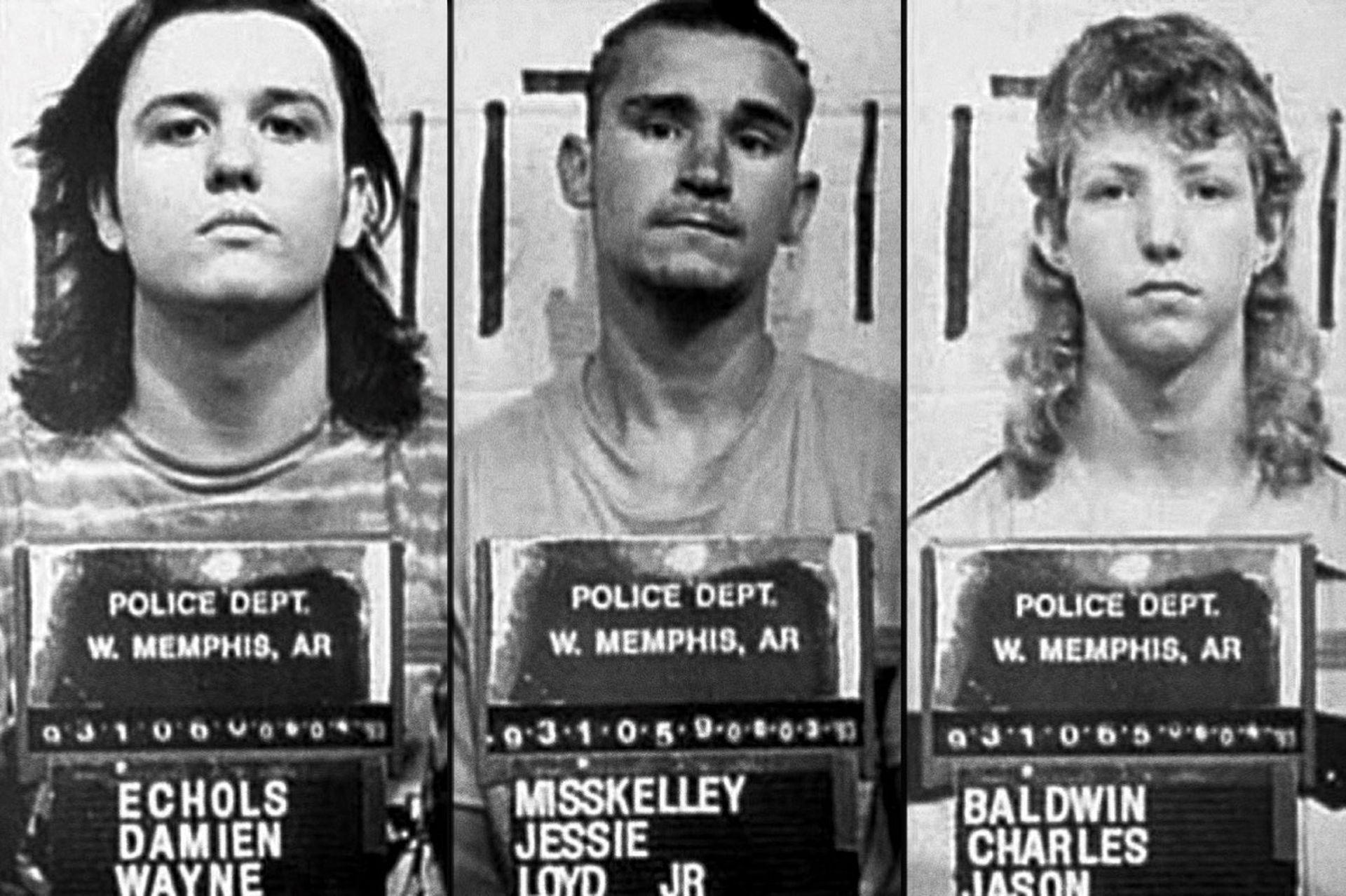 """""""The West Memphis Three"""" fotografiados por el Departamento de Policía de West Memphis, después de su arresto en junio de 1993"""