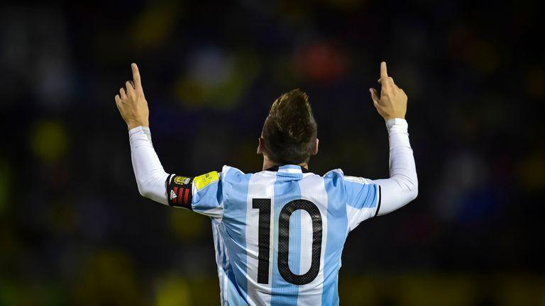 Festejo al cielo de Lionel Messi, el capitán y emblema de la Argentina, que querrá un camino a Qatar 2020 mucho más sencillo que lo que fue el periplo hacia Rusia 2018.