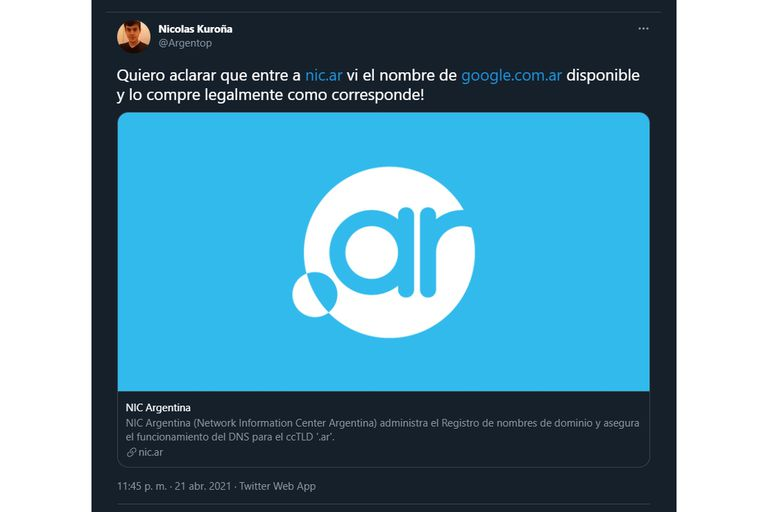 El tuit de Kuroña explicando lo sucedido con google.com.ar