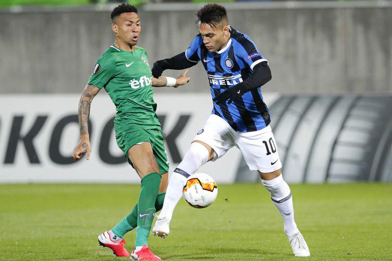 Lautaro Martínez fue amonestado y luego reemplazado en la victoria de Inter frente a Ludogorest