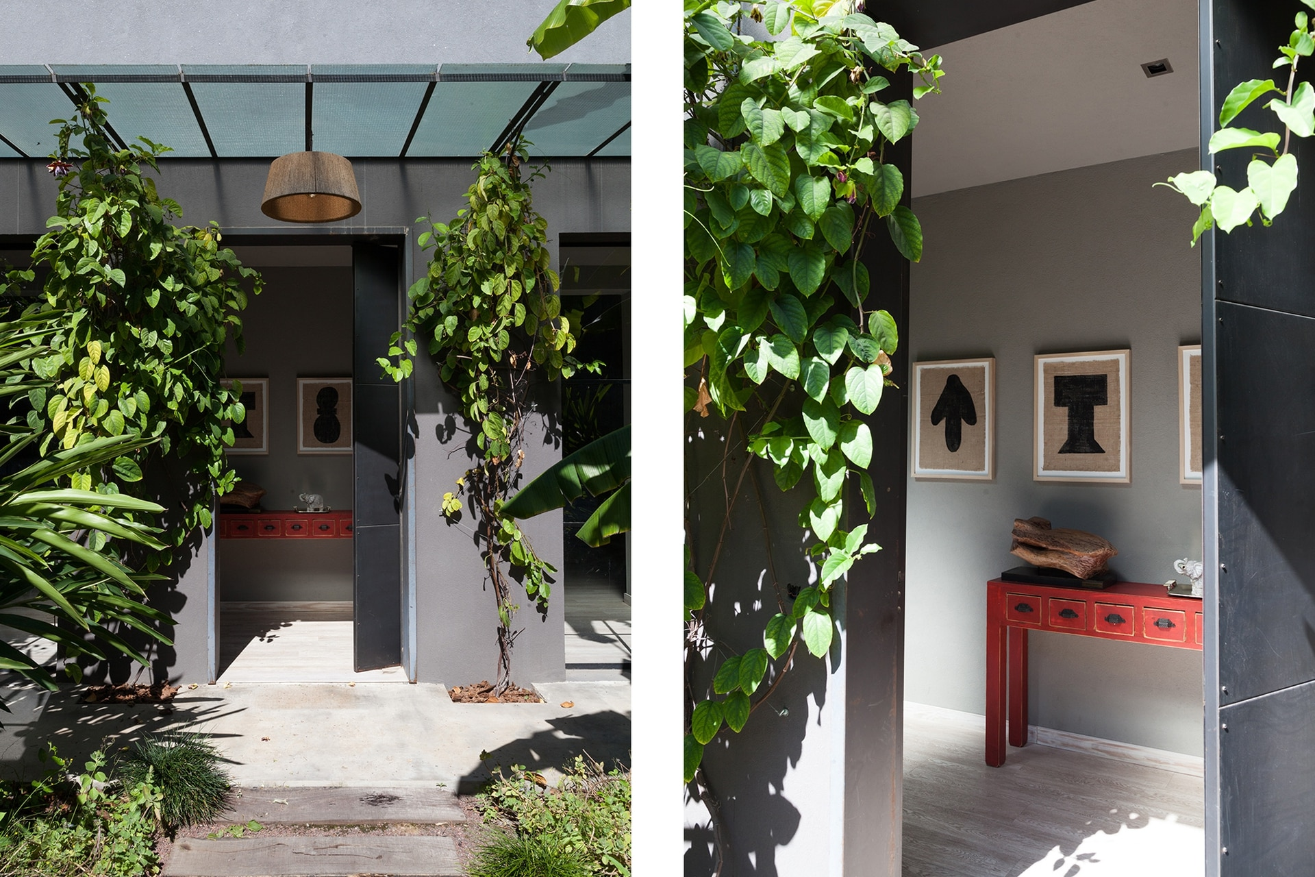 Mueble rojo heredado. Cuadros de arpillera con marcos de kiri. Lámpara colgante (Indelec). Foto de Antonia Robirosa.