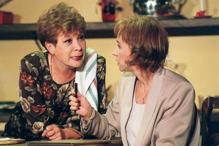 Junto a Ana Acosta, en una obra teatral que compartieron en 1997