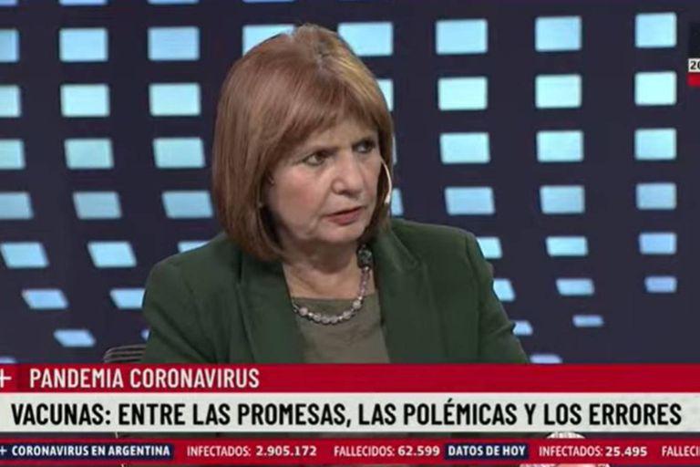Patricia Bullrich, en LN+, al hablar de las vacunas y pronunciar su polémica frase sobre Malvinas.