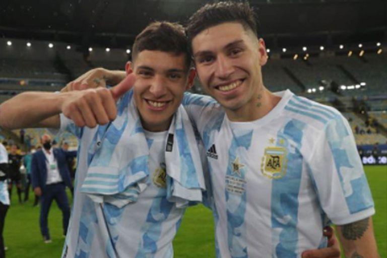 Gonzalo Montiel y Nahuel Molina los laterales que alternaron titularidad en el Campeón de America.