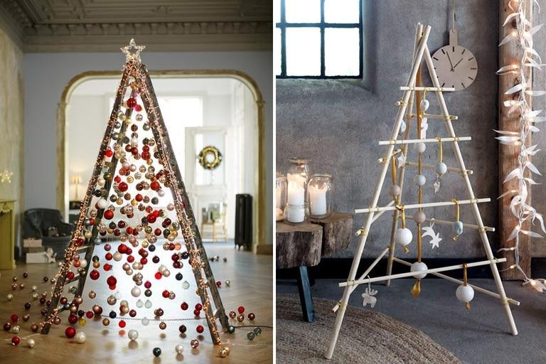 Otra versión para inspirarse: una vieja escalera decorada con borlas de navidad y luces, y un arbolito hecho con maderitas de distintas longitudes