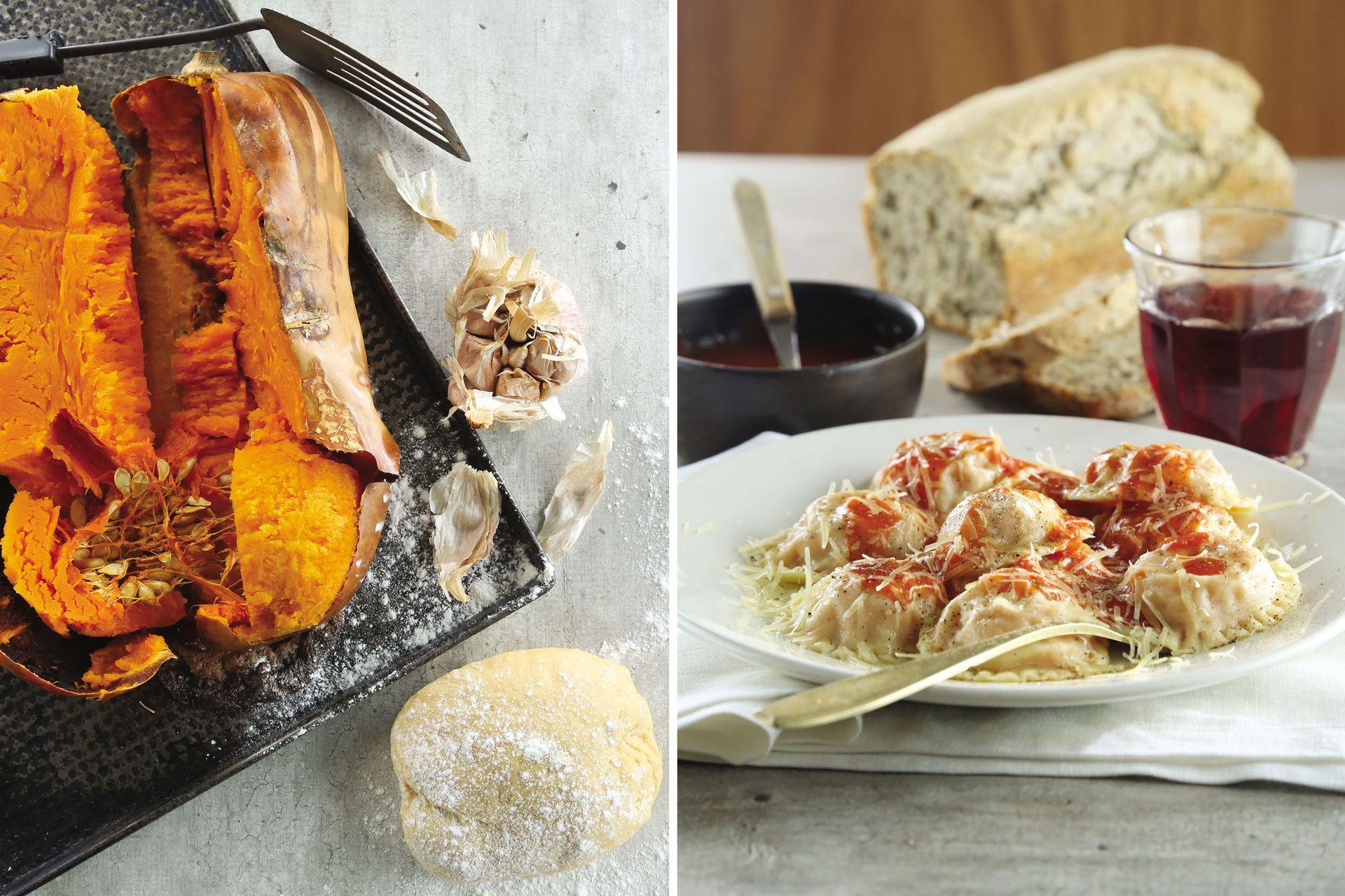 De la huerta al plato: ravioles de calabaza, un exquisito plato principal para los amantes de las pastas.
