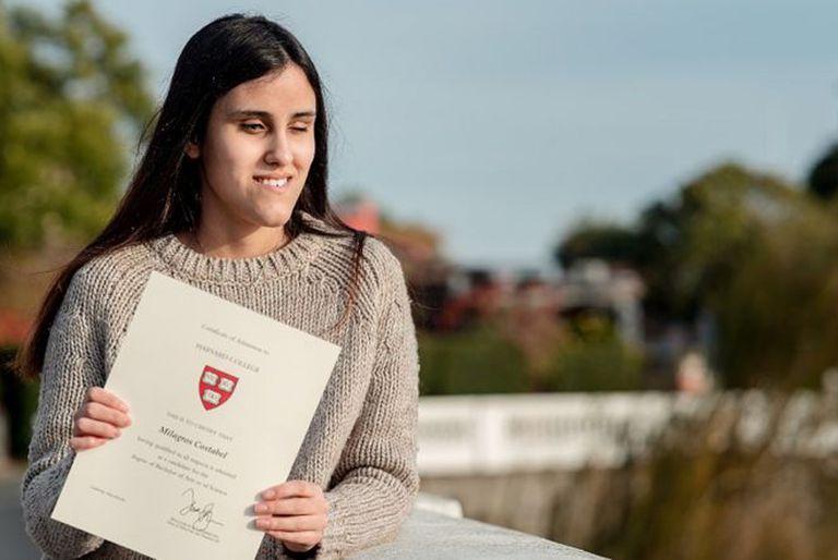 Milagros, la joven uruguaya ciega que aprendió inglés sola y estudiará sin costo en Harvard