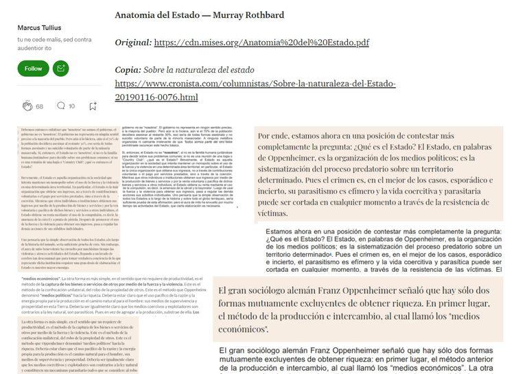 El usuario de Medium Marcus Tullius acusó de plagio a Javier Milei y mostró pasajes de sus notas que son idénticos a textos de autores de la Escuela Austríaca de Economía