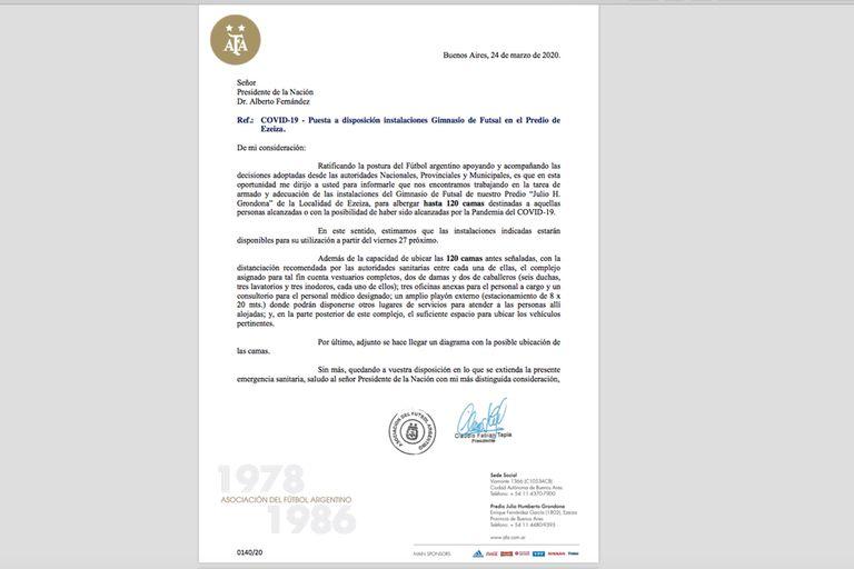 La carta que Claudio Tapia envió a Alberto Fernández; el mismo mensaje llegó a Horacio Rodríguez Larreta y Axel Kicillof.