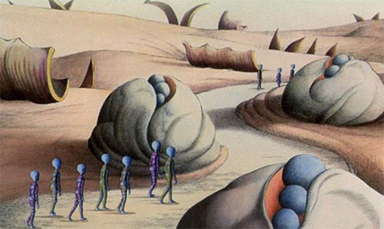 La película presenta paisajes oníricos de inspiración surrealista